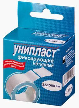 Унипласт пластырь фиксирующий, 2.5х500, пластырь медицинский, на основе нетканого материала, 1 шт.