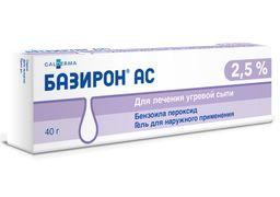 Базирон АС, 2.5%, гель для наружного применения, 40 г, 1 шт.