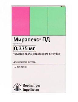 Мирапекс ПД, 0.375 мг, таблетки пролонгированного действия, 10 шт.