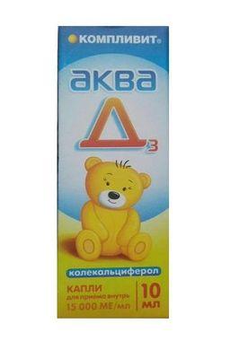 Компливит Аква Д3, 15000 МЕ/мл, капли для приема внутрь, 10 мл, 1 шт.