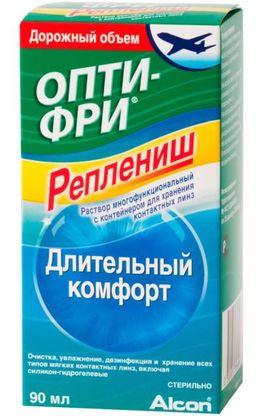 Опти-Фри Реплениш, раствор для обработки и хранения мягких контактных линз, в комплекте с контейнером для хранения линз, 90 мл, 1 шт.