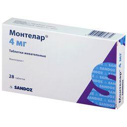 Монтелар, 4 мг, таблетки жевательные, 28 шт.