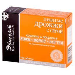 Пивные дрожжи Эвисент с серой, 0.5 г, таблетки, 100 шт.