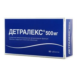 Детралекс, 500 мг, таблетки, покрытые пленочной оболочкой, 60 шт.