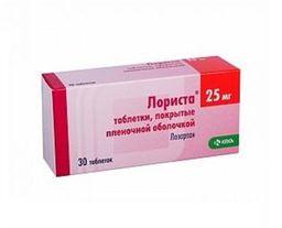 Лориста, 25 мг, таблетки, покрытые пленочной оболочкой, 30 шт.