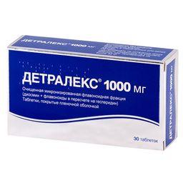 Детралекс, 1000 мг, таблетки, покрытые пленочной оболочкой, 30 шт.