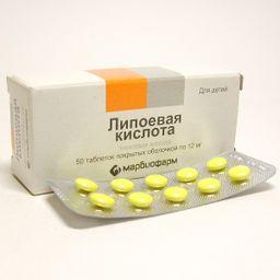 Липоевая кислота, 12 мг, таблетки, покрытые оболочкой, 50 шт.