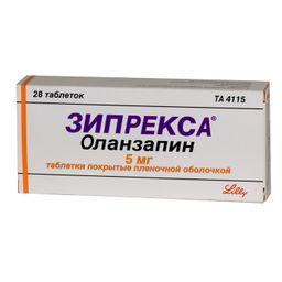 Зипрекса, 5 мг, таблетки, покрытые пленочной оболочкой, 28 шт.