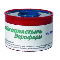 Лейкопластырь Верофарм, 3х500см, пластырь медицинский, 1 шт.