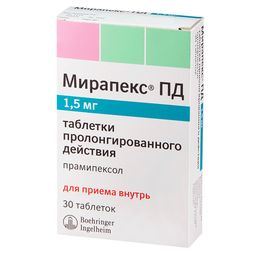 Мирапекс ПД, 1.5 мг, таблетки пролонгированного действия, 30 шт.