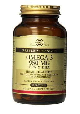 Solgar Тройная Омега-3 950 ЭПК и ДГК, 950 мг, 50 шт.