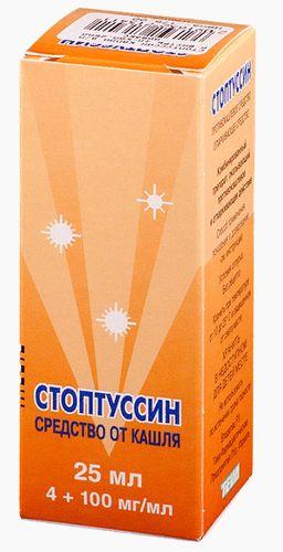 Стоптуссин, 100 мг+4 мг/мл, капли для приема внутрь, 25 мл, 1 шт.