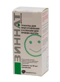 Зиннат, 125 мг/5 мл, гранулы для приготовления суспензии для приема внутрь, 1,25 г (50 мл), 1 шт.