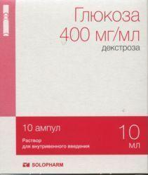 Глюкоза (для инъекций), 400 мг/мл, раствор для внутривенного введения, 10 мл, 10 шт.