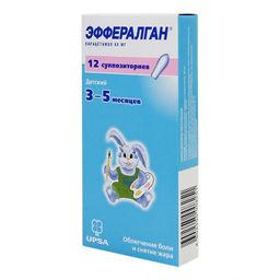 Эффералган, 80 мг, суппозитории ректальные, 12 шт.