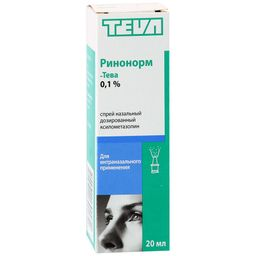 Ринонорм-Тева, 0.1%, спрей назальный дозированный, 20 мл, 1 шт.