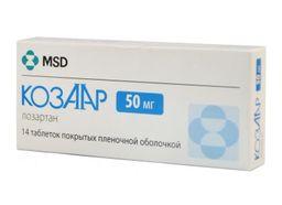 Козаар, 50 мг, таблетки, покрытые пленочной оболочкой, 14 шт.