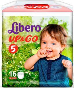 Подгузники-трусики детские Libero Up&Go, 10-14 кг., р. 5, 16 шт.