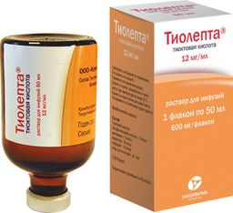 Тиолепта, 12 мг/мл, раствор для инфузий, 50 мл, 1 шт.
