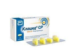Клацид СР, 500 мг, таблетки с пролонгированным высвобождением, покрытые пленочной оболочкой, 7 шт.