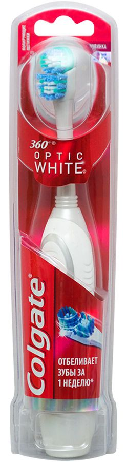 Colgate 360 Optic White Зубная щетка электрическая средняя, щетка зубная, 1 шт.