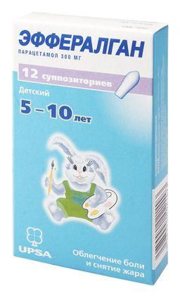 Эффералган, 300 мг, суппозитории ректальные, 12 шт.