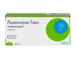 Лизиноприл-Тева, 10 мг, таблетки, 30 шт.