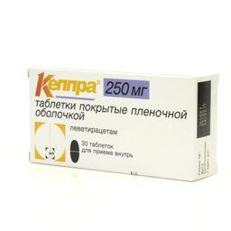 Кеппра, 250 мг, таблетки, покрытые пленочной оболочкой, 30 шт.