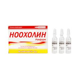 Ноохолин Ромфарм, 250 мг/мл, раствор для внутривенного и внутримышечного введения, 4 мл, 3 шт.