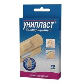 Унипласт лейкопластырь бактерицидный, 1,9 х 7,2 см, пластырь медицинский, из эластичной ткани, 20 шт.