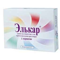 Элькар, 1000 мг, гранулы шипучие для приготовления раствора для приема внутрь, 5 г, 10 шт.