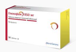 Глюкофаж, 850 мг, таблетки, покрытые пленочной оболочкой, 30 шт.