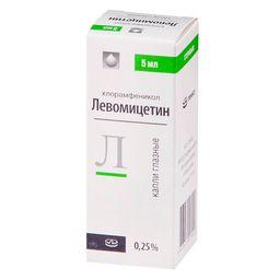 Левомицетин (глазные капли), 0.25%, капли глазные, 5 мл, 1 шт.