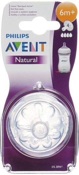 Соски Philips Avent Natural быстрый поток, 2 шт.