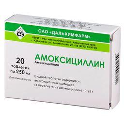 Амоксициллин, 250 мг, таблетки, 20 шт.