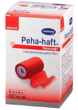 Peha-haft Бинт самофиксирующийся, 8смх4м, красного цвета, 1 шт.