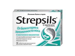 Стрепсилс с ментолом и эвкалиптом, таблетки для рассасывания, 36 шт.