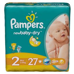 Подгузники детские Pampers newbaby-dry, 3-6 кг, р. 2 (Mini), 27 шт.