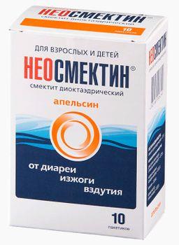 Неосмектин, 3 г, порошок для приготовления суспензии для приема внутрь, апельсиновый (ые), 3.76 г, 10 шт.