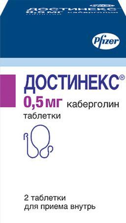 Достинекс, 0.5 мг, таблетки, 2 шт.