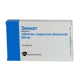 Зиннат, 250 мг, таблетки, покрытые пленочной оболочкой, 10 шт.