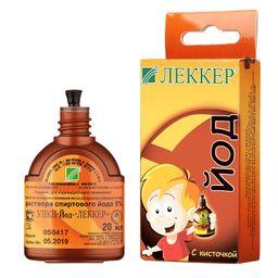 Леккер УПК 5% спиртового раствора йода, 20 мл, 1 шт.