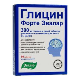 Глицин Форте Эвалар, 300 мг, таблетки, 60 шт.