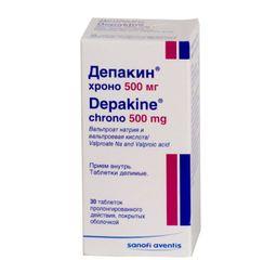 Депакин хроно, 500 мг, таблетки пролонгированного действия, покрытые оболочкой, 30 шт.