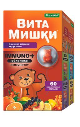 ВитаМишки Immuno + облепиха, пастилки жевательные, ассорти, 60 шт.