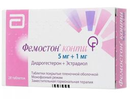 Фемостон конти, 5 мг+1 мг, таблетки, покрытые пленочной оболочкой, 28 шт.