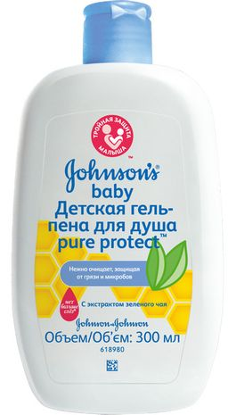 Johnsons Baby Pure Protect гель-пена для душа, гель для душа, 300 мл, 1 шт.