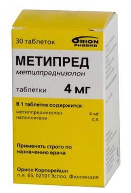 Метипред, 4 мг, таблетки, 30 шт.