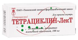 Тетрациклин-ЛекТ, 100 мг, таблетки, покрытые пленочной оболочкой, 20 шт.