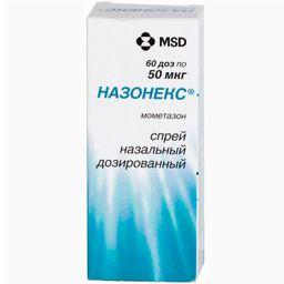 Назонекс, 50 мкг/доза, 60 доз, спрей назальный дозированный, 10 г, 1 шт.